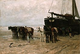 Anton Mauve   Fishing Boat and Draught-Horses on the Beach, 1876   Giclée Canvas Print