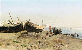 Antonino Leto | On the Mergellina Shore, 1880 | Giclée Canvas Print