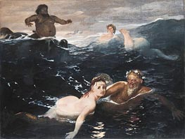 Arnold Bocklin | Playing in the Waves | Giclée Canvas Print