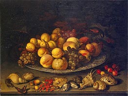 van der Ast |  Plate with Fruits and Shells | Giclée Canvas Print