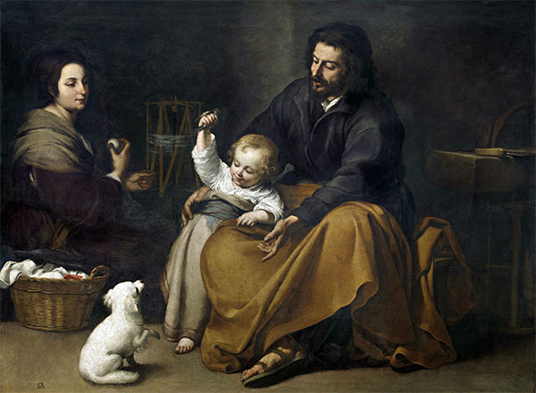 The Holy Family with a Little Bird, c.1650 | Murillo | Giclée Canvas Print