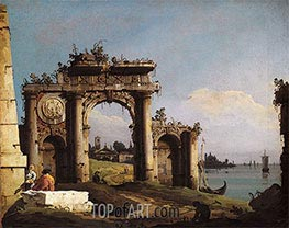 Bernardo Bellotto | Capriccio with a Triumphal Arch on the Banks of the Lagoon | Giclée Canvas Print