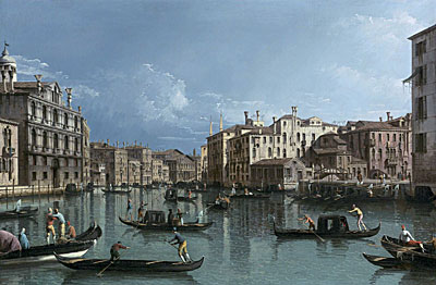 The Grand Canal Looking North from the Palazzo Contarini dagli Scrigni to the Palazzo Rezzonico, undated | Bernardo Bellotto | Giclée Canvas Print