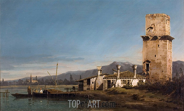 Capriccio with the Tower of Malghera, c.1743/44 | Bernardo Bellotto | Painting Reproduction