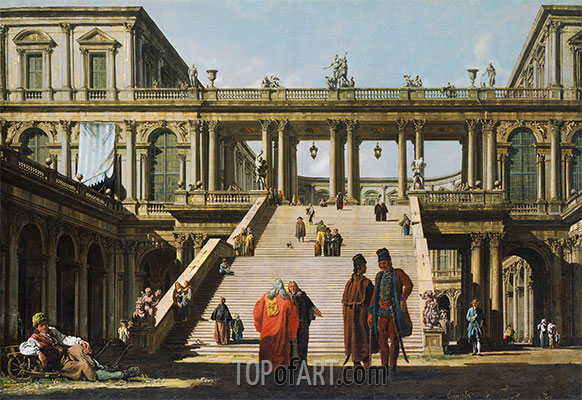 Architectural Fantasy with a Palace Stairway, 1762 | Bernardo Bellotto | Painting Reproduction