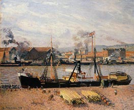 Pissarro | The Port of Rouen - Unloading Wood | Giclée Canvas Print