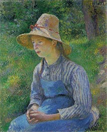 Pissarro | Peasant Girl with a Straw Hat, 1881 | Giclée Canvas Print