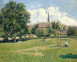Pissarro | The House of the Deaf Woman and the Belfry at Eragny, 1886 | Giclée Canvas Print