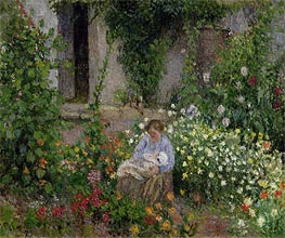Pissarro   Mother and Child in the Flowers, 1879   Giclée Canvas Print