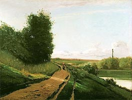 Pissarro | The Tow Path at Bougival, 1864 | Giclée Canvas Print