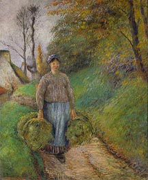 Pissarro | Peasant Carrying Two Bales of Hay, 1884 | Giclée Canvas Print