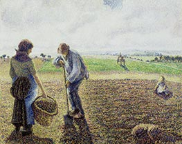 Pissarro | Peasants in the Fields, Eragny, 1890 | Giclée Canvas Print