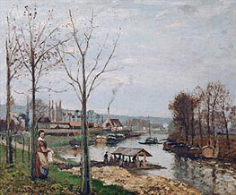 Pissarro | Port-Marly, the Wash-House, 1872 | Giclée Canvas Print