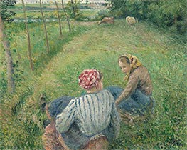Pissarro | Young Peasant Girls Resting in the Fields near Pontoise, 1882 | Giclée Canvas Print