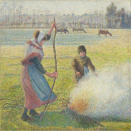 Pissarro | Hoar-Frost, Peasant Girl Making a Fire | Giclée Canvas Print