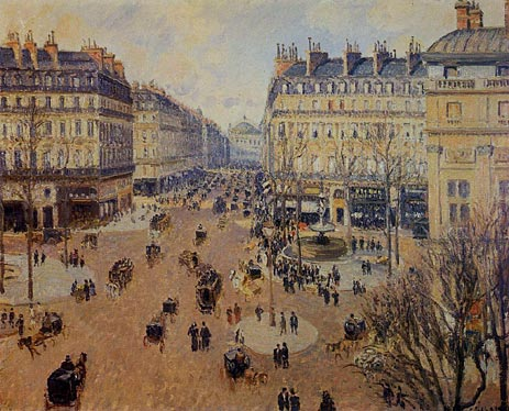 Place du Theatre Francais - Afternoon Sun, Winter, 1898 | Pissarro | Painting Reproduction