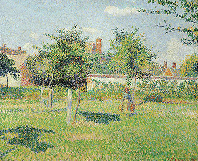 Woman in the Meadow at Eragny, Spring, 1887 | Pissarro | Giclée Canvas Print
