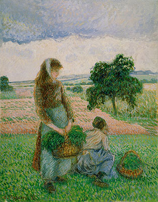 Peasants Carrying a Basket, 1888 | Pissarro | Painting Reproduction