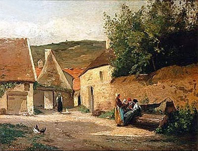 Streetcorner in the Village, undated | Pissarro | Painting Reproduction