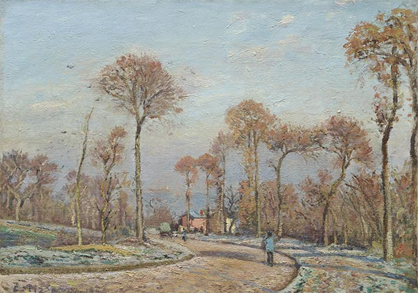 The Road to Versailles, Louveciennes, Morning Frost , 1871 | Pissarro | Giclée Canvas Print