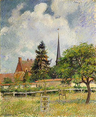 The Church at Eragny, 1884 | Pissarro | Painting Reproduction