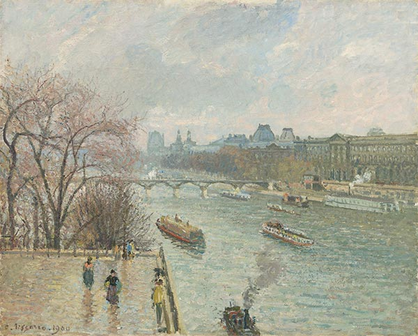 The Louvre, Afternoon, Rainy Weather, 1900 | Pissarro | Giclée Canvas Print