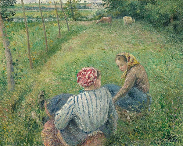 Young Peasant Girls Resting in the Fields near Pontoise, 1882   Pissarro   Giclée Canvas Print