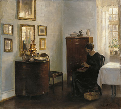 Woman with Fruit Bowl, c.1900/10 | Carl Vilhelm Holsoe | Painting Reproduction
