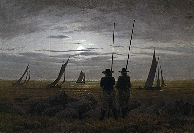 Moonlit Night on the Beach with Fishermen, 1817 | Caspar David Friedrich | Painting Reproduction
