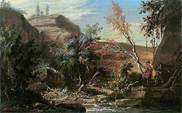 Caspar Wolf | Rocky Landscape, Two Hikers in the Foreground | Giclée Canvas Print