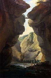 Caspar Wolf | Bridge and Gorges of Dala River in Leuekerbad, View towards the Mountain | Giclée Canvas Print