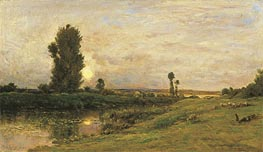 Charles-Francois Daubigny | Moonrise on the Banks of the River Oise, 1874 | Giclée Canvas Print