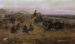 Charles Marion Russell   The Piegans Preparing to Steal Horses from the Crows, 1888   Giclée Canvas Print