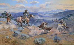 Charles Marion Russell | Loops and Swift Horses are Surer than Lead, 1916 | Giclée Canvas Print