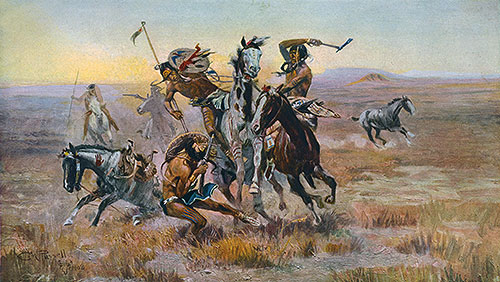 When Sioux and Blackfeet Met, 1902 | Charles Marion Russell | Giclée Canvas Print