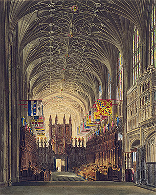 Interior of St. George's Chapel, Windsor Castle, 1819 | Charles Wild | Giclée Paper Print