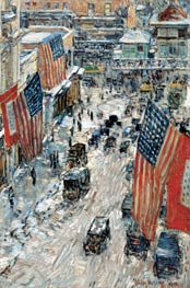 Hassam | Flags on Fifty-seventh Street, The Winter of 1918 | Giclée Canvas Print