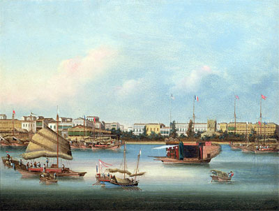 The Hongs at Canton, c.1855 | Chinese School | Painting Reproduction