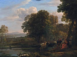 Claude Lorrain | An Evening Landscape with Mercury and Battus, 1654 | Giclée Canvas Print