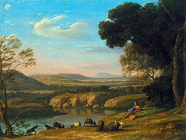 Claude Lorrain | River Landscape with Goatherd, 1640 | Giclée Canvas Print