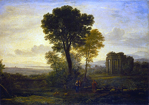 Landscape with Jacob, Rachel and Leah at the Well, 1666   Claude Lorrain   Painting Reproduction