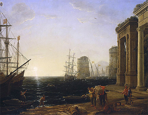 Harbour Scene at Sunset, 1643 | Claude Lorrain | Giclée Canvas Print
