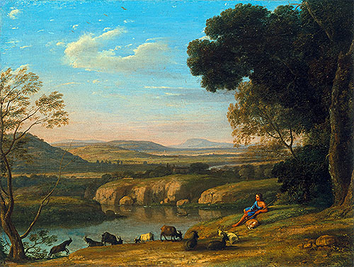 River Landscape with Goatherd, 1640 | Claude Lorrain | Giclée Canvas Print