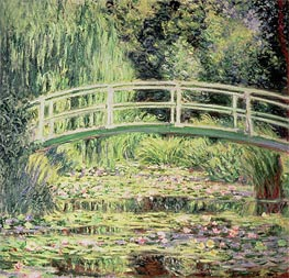 Monet | White Lilies and Japanese Bridge | Giclée Canvas Print