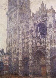Monet | Rouen Cathedral, Tour d'Albane, Grey Weather | Giclée Canvas Print