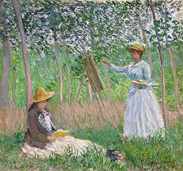 Monet | In the Woods at Giverny (Blanche Hoschede at Her Easel with Suzanne Hoschede Reading) | Giclée Canvas Print