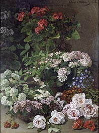 Monet   Spring Flowers, 1864 by   Giclée Canvas Print