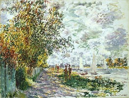 Monet | River Bank at Petit-Gennevilliers, c.1875 | Giclée Canvas Print