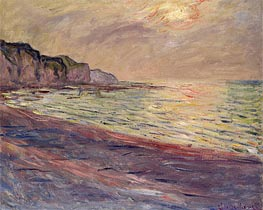 Monet | The Beach at Pourville, Setting Sun, 1882 | Giclée Canvas Print