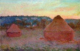 Monet | Stacks of Wheat (End of Day, Autumn) | Giclée Canvas Print